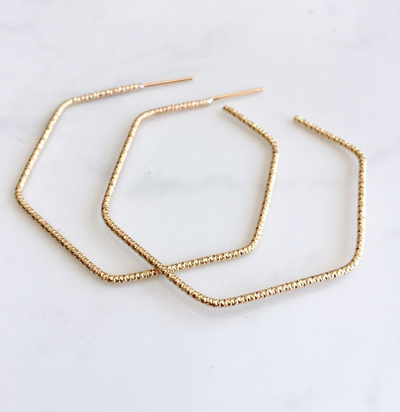 Sparkle wire hexagon hoops