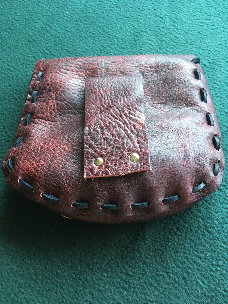 Marbleised Black and Burgundy Leather Medieval Style Pouch