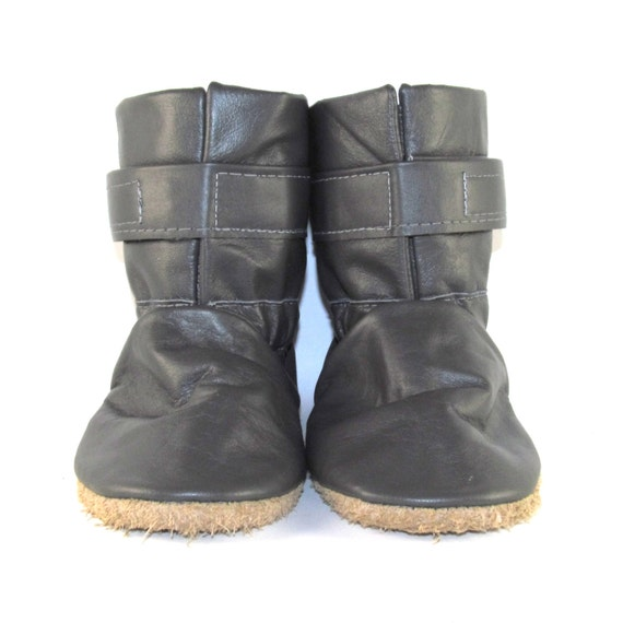 Soft Sole Gray Leather Winter Baby