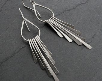 Rain Sterling Silver Earrings Fringe Earring Pair Dangle Handmade Jewelry Teardrop Earrings Falling Rain