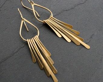 14k Gold Fill Earrings, Modern Bohemian Fringe Dangle Earring, 14k Yellow Gold Filled Rain