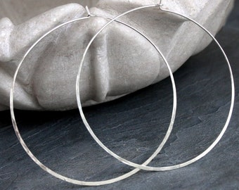 """Extra Large Hoops - Solid Sterling Silver - 3"""" - Handmade Round Silver Classic Circle Hoops - Three Inches Across - Light XL"""
