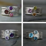Customize Your Own Set of 5 Stacking Rings - Sterling Silver Faceted Gemstone Rings - You Choose the Gemstones - Custom Stack Rings