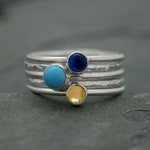 Customize Your Own Set of 5 Stacking Rings - Sterling Silver Cabochon Gemstone Rings - You Choose the Gemstones - Custom Stackable Rings