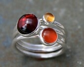 Maui Sunset Stacking Rings, Set of Three Sterling Silver Gemstone Rings, Garnet Citrine Carnelian, Stackable Cabochon Gemstone Rings