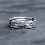Sterling Silver Stacking Rings, Stack of Three Hammered Rings, Hand Made Ring Bands, Shiny Polish Faceted Texture Finish, Spacer Band