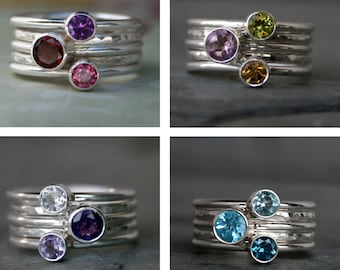 Customize Your Own Set of 5 Stacking Rings, Sterling Silver Faceted Gemstone Rings, You Choose the Gemstones, Custom Stackackable Rings