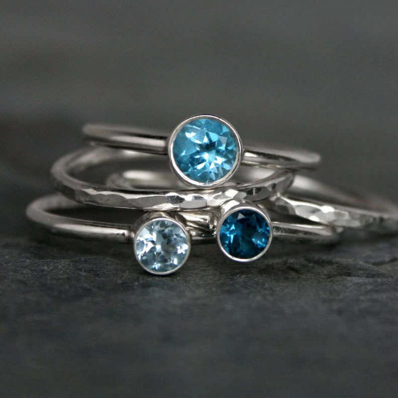 Ocean Blue Stacking Rings / Faceted Swiss Blue Topaz London image 0
