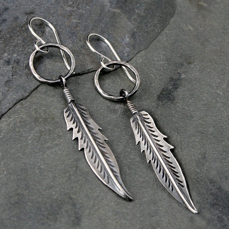 Feather Earrings Solid Sterling Silver Dangle Earrings image 0