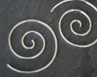 Spiral Earrings Solid Sterling Silver Swirl, Silver Simplicity Minimalist Medium Spirals