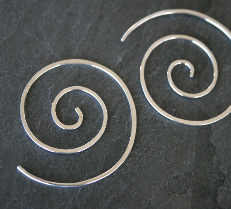 Spiral Earrings Solid Sterling Silver Swirl Silver Simplicity image 0