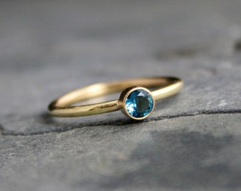 14k Gold Filled Gemstone Stacking Ring, Stackable 4mm Faceted, You Choose the Gemstone