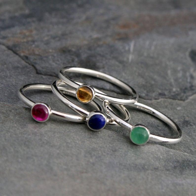 Gemstone Birthstone Stacking Rings Sterling Silver Custom image 0