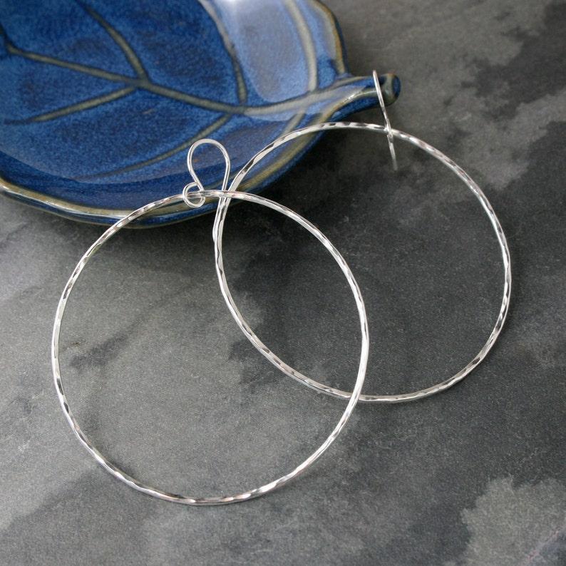 Large Eternity Earrings Sterling Silver Hoops Round Hoops image 0