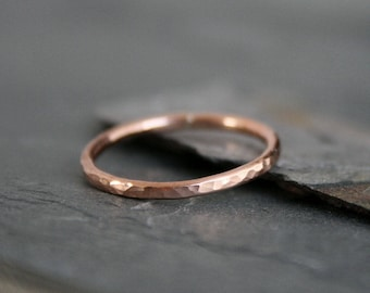 Rose Gold Fill Stacking Ring, Stackable Hammered Spacer Ring Band, Handmade Rose Gold Filled Single Stack Solitare Spacer Engagement Band