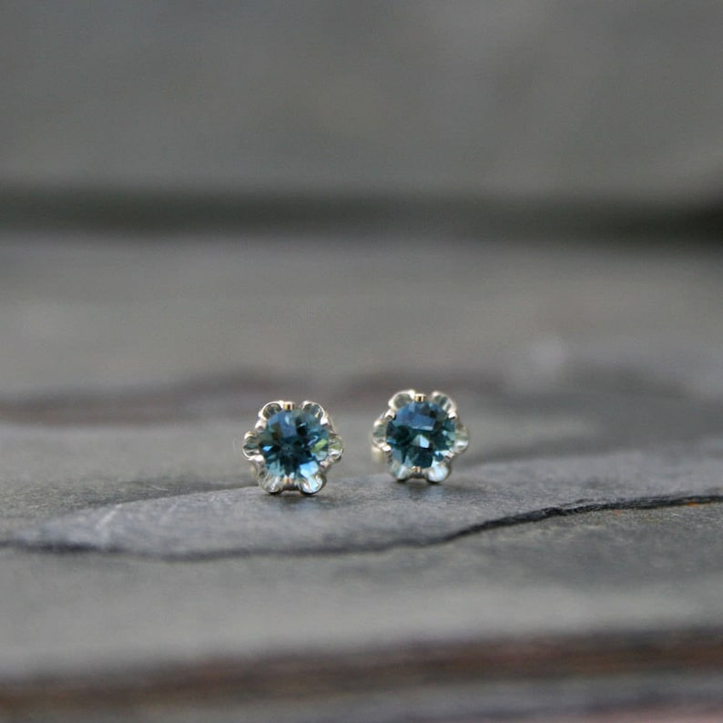 Faceted London Blue Topaz Stud Earrings Solid Sterling Silver image 0