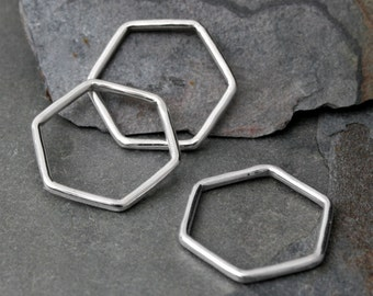 Geometric Stacking Rings, Set of 3 Solid Sterling Silver Rings, Hexagon Minimalist Design, Three Stackable Rings