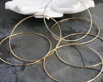 14k Gold Filled Bangles, Set of Six 6 Stacking Skinny Bracelets, High Karat Gold Fill Bangles, Set of Six