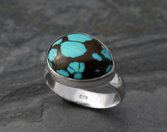 Blue Green Planet Turquoise Ring, Sterling Silver Ring, One of a Kind Southwest Minimalist Silver Jewelry, Statement Turquoise Gemstone Ring