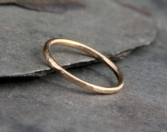 14k Gold Fill Stacking Ring Stack Hammered Spacer Ring Band, Handmade 14 Karat Gold Filled Single Stack Solitare Spacer Engagement Band