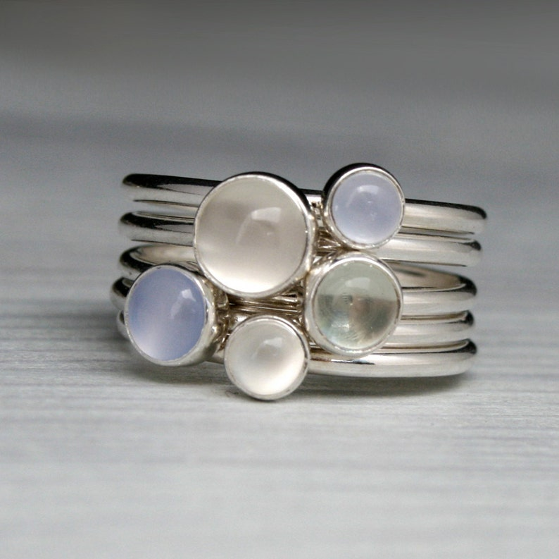 Moonstone Chalcedony Prasiolite Stacking Rings  Set of 5 image 0