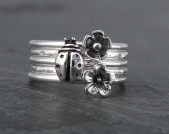 Garden Botanical Stacking Rings, Sterling Silver Set of 5 Rings, Lucky Ladybug Gardener Gift