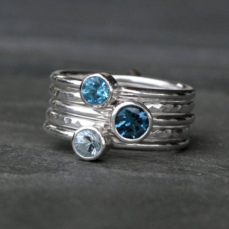Blue Topaz & Aquamarine Stacking Rings Set of Five Sterling image 0