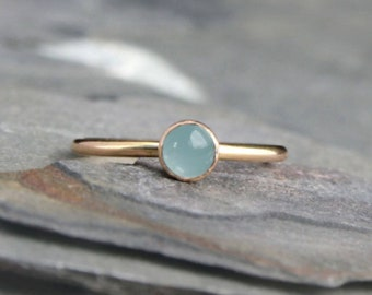 14k Gold Filled Gemstone Stacking Ring Stackable 5mm Cabochon 14 Karat Gold Fill Birthstone Engagement Ring Band Gem Choose Your Gemstone