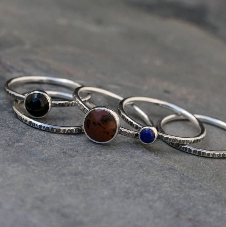 Mahogany Obsidian Black Onyx Sterling Silver Set of Five Ring Stackable Rings Lapis Lazuli Earth Sky Stacking Rings