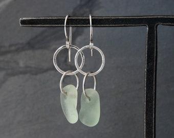 Beachcomber Auqa Sea Glass Earrings, Sterling Silver Earrings, Natural Genuine Hawaiian Sea Glass
