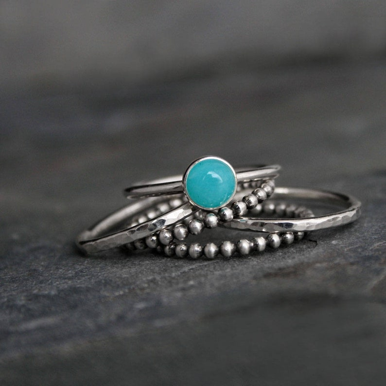 Gemstone Stacking Ring Sterling Silver Set Five Rings 6mm image 0