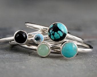 World Traveler Turquoise Stacking Rings, Set of 5 Sterling Silver Rings, Turquoise Black Onyx Swiss Blue Topaz Aventurine Gemstones