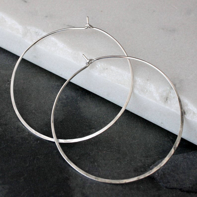 Large Hoops  Solid Sterling Silver  2  Handmade Round image 0