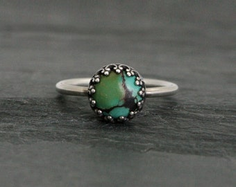Turquoise Sterling Silver Ring, Handmade Turquoise Gemstone Custom Choice Blue Green Veined Natural Stacking Filagree Stackable Silver Ring