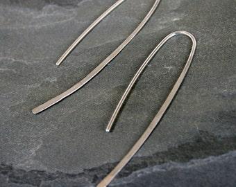 Modern Minimalist Sterling Silver Earrings, Elegant Simplicity, Solid Sterling Silver, Clean Line Earrings