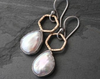 Baroque Pearl Earrings, One of a Kind Natural Freshwater Pearls set in Sterling Silver with 14k Gold Fill Hexagon