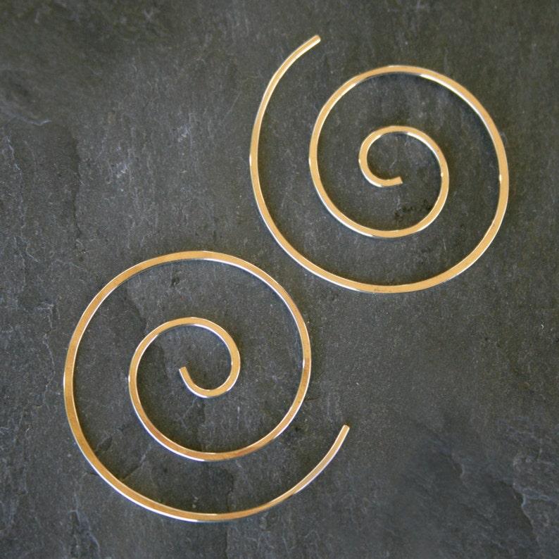 14k Gold Filled Spiral Earrings 14 karat Gold Fill Swirl Koru image 0