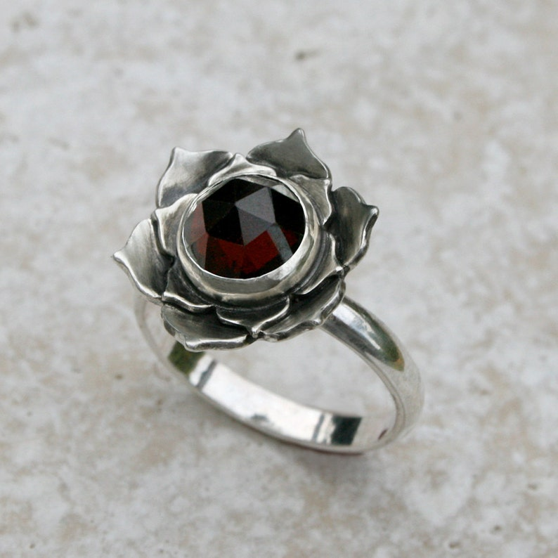 Lotus Garnet Sterling Silver Cocktail Ring Wine Red Garnet image 0