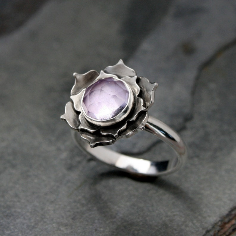Lotus Ring / Sterling Silver Statement Ring / Faceted Rose Cut image 0