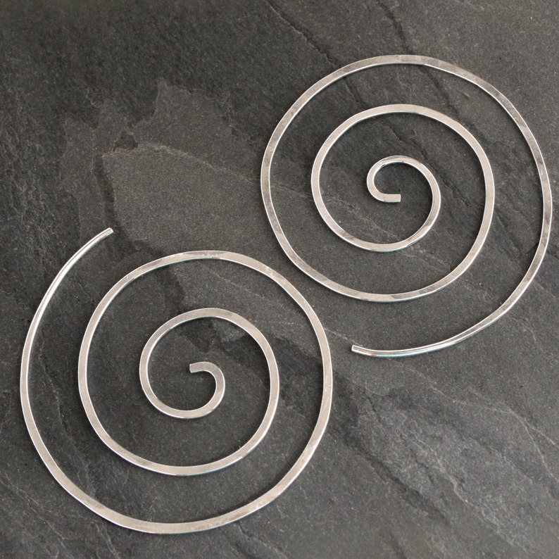 Spiral Earrings Solid Sterling Silver Size Large Nautilus image 0