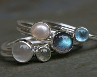 Set of 5 Rings, Labradorite Swiss Blue Topaz Pearl Moonstone, Sterling Silver Stacking Rings, Five Stackable Cabochon Gemstone Rings