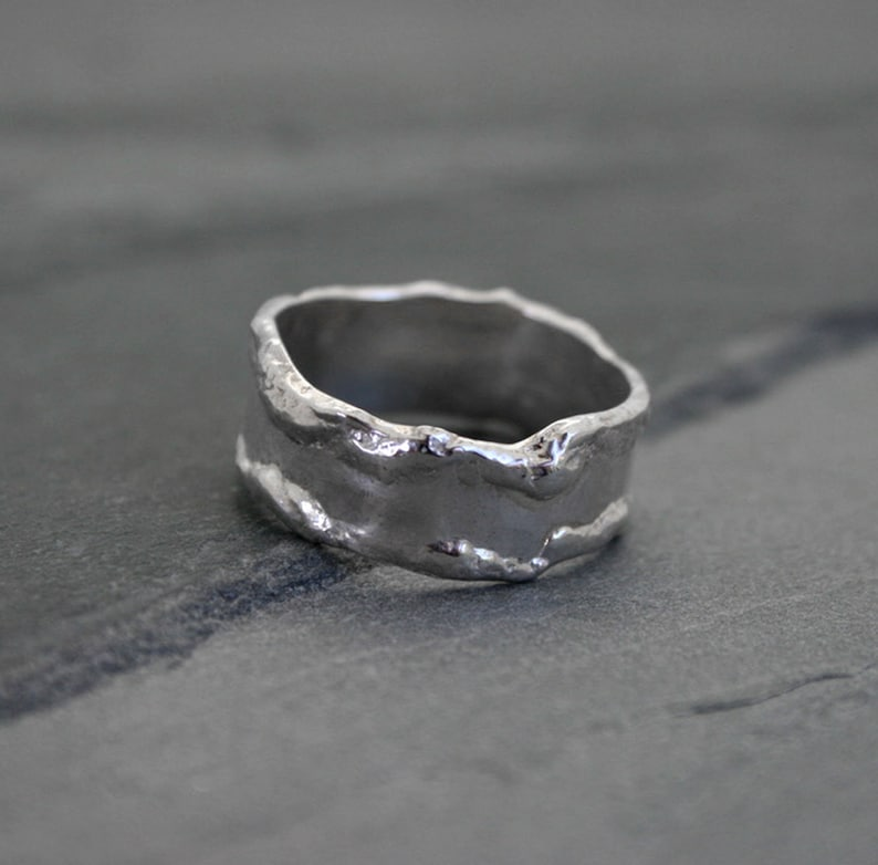 Abstract Sterling Silver Ring Band Natural Organic Silver image 0