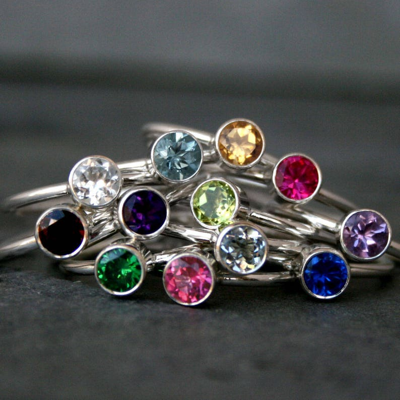 Birthstone Stacking Ring Sterling Silver Stackable Gemstone image 0