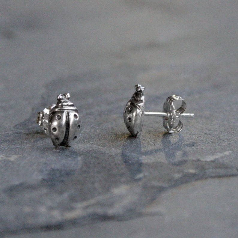 Garden Party Ladybug Bontanical Gardener Jewelry Lucky Love Bug Ladybird Nature Earring Pair Lady Bug Sterling Silver Post Stud Earrings