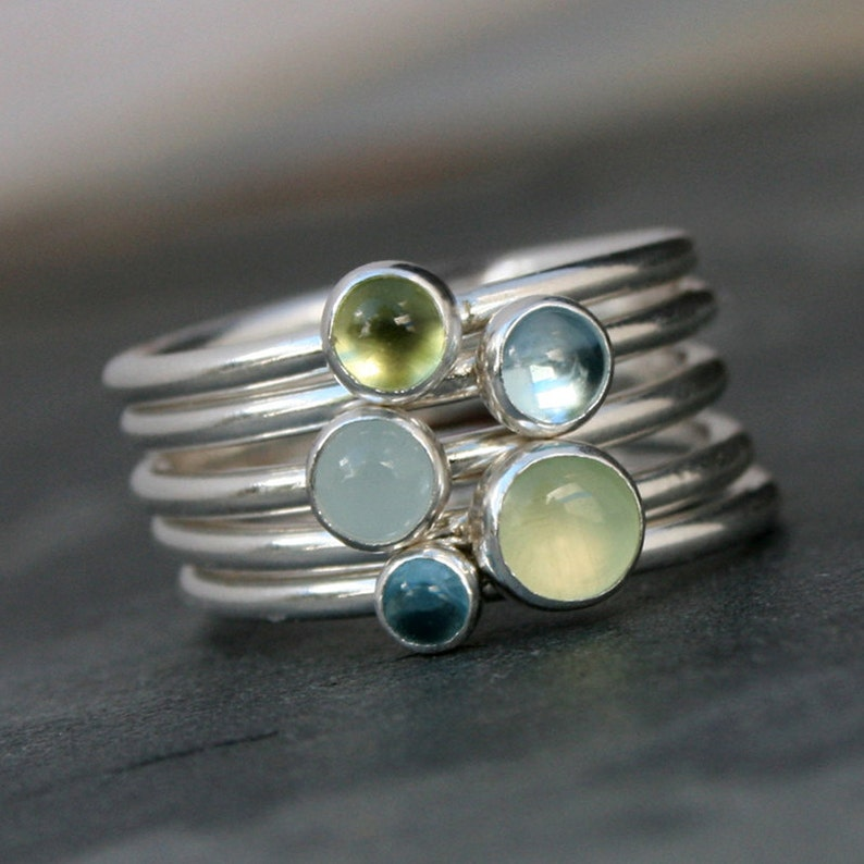 Spring Day Stacking Rings Sterling Silver Set of Five image 0
