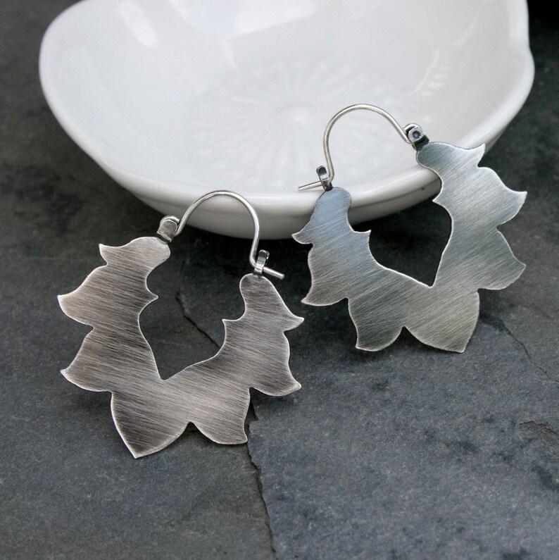 Lotus Earrings / Solid Sterling Silver Handcrafted Earrings / image 0