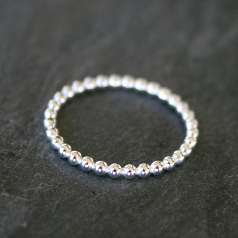 Sterling Silver Bead Ring Solid Sterling Silver Stacking image 0