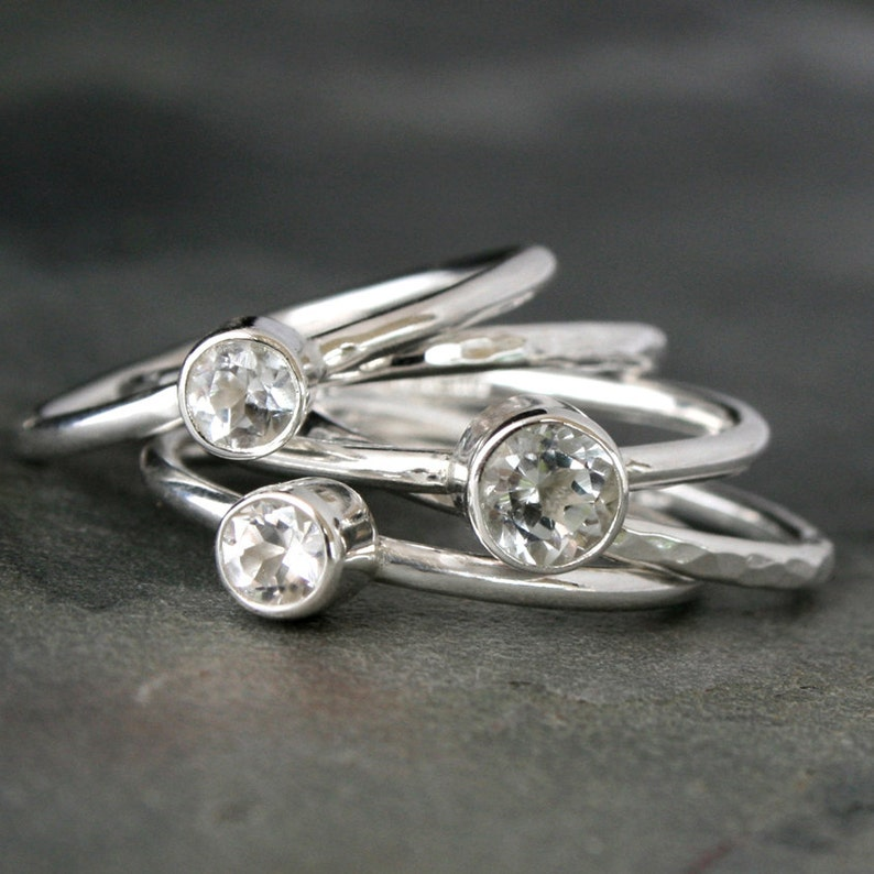 Stacking Rings  Set of Five Sterling Silver Rings  Clear image 0