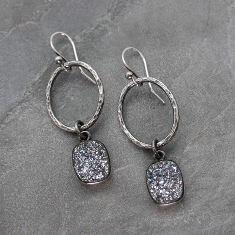 Druzy Sterling Silver Dangle Earrings / Crystal Cluster image 0
