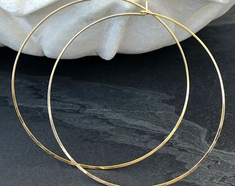 """Extra Large Hoops, 14k Gold Fill, 3"""" Handmade Round Classic Circle Hoops, Three Inches Across Light XL 14k Yellow Gold Fill"""